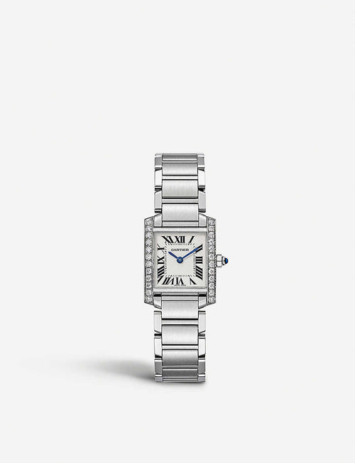 Tank francaise steel and diamond watch