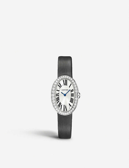 Baignoire 18ct white-gold and diamond small watch