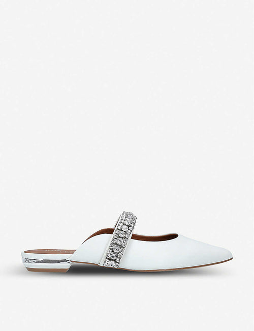 Princely embellished-strap leather mules