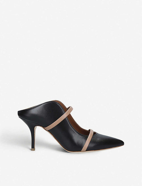 Maureen leather heeled mules