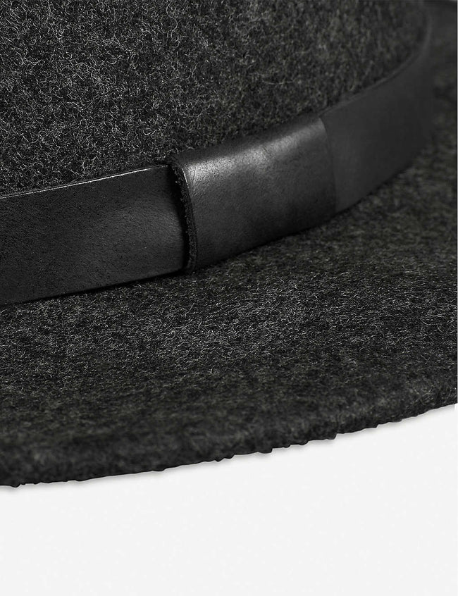 Bronson leather-trim wool fedora