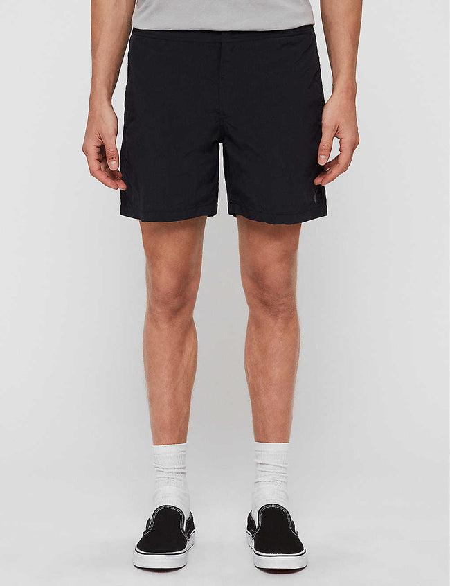 Warden logo-embroidered swim shorts