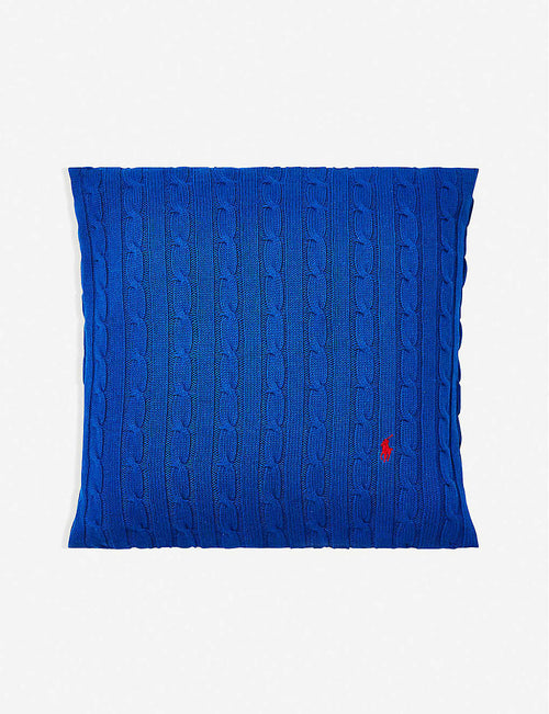 Cable-knit cotton cushion cover 45cm x 45cm