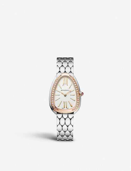103143 Serpenti Seduttori rose gold-plated stainless steel and diamond watch