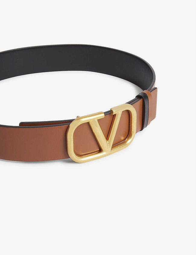VLOGO leather V-ring belt
