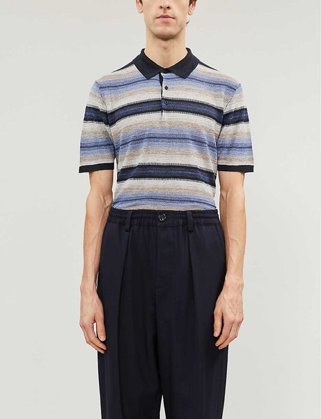 Striped linen and silk-blend polo shirt