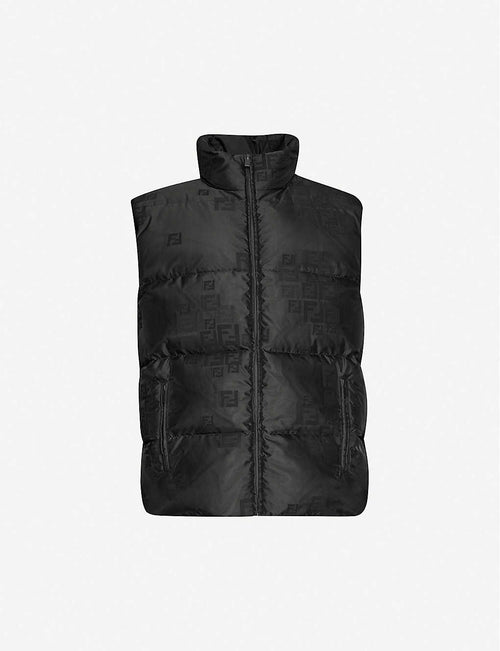 Faded logo-print shell-down gilet