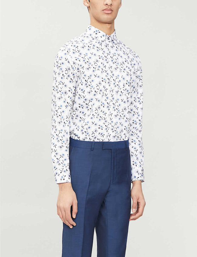 Floral-print regular-fit stretch-cotton shirt