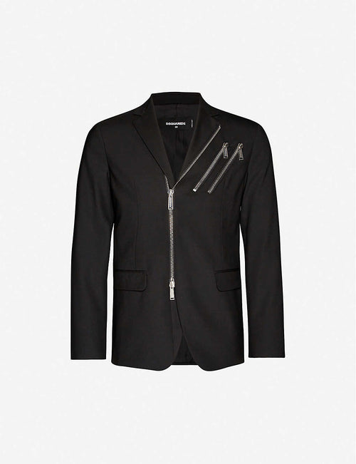 Zip-detail wool-blend blazer