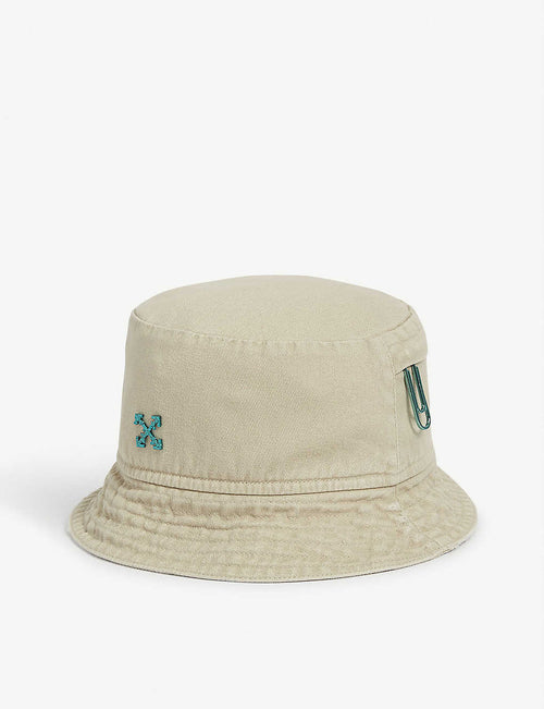 Arrow and paperclip motif cotton bucket hat
