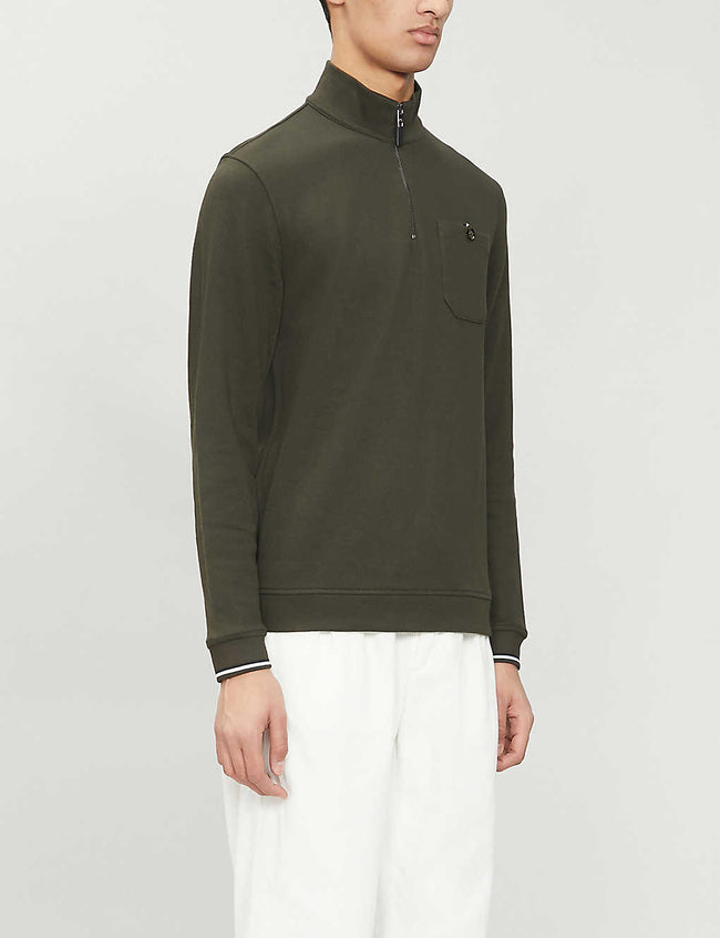 Funnel-neck cotton-blend jumper