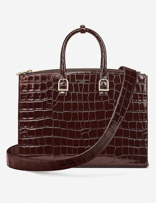 Madison croc-embossed leather tote bag