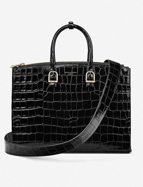 Madison crocodile-embossed leather shoulder bag
