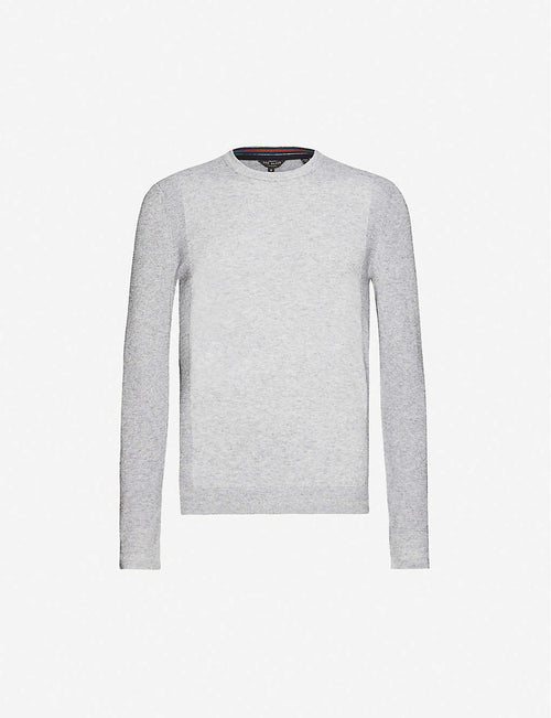 Textured knit crewneck jumper
