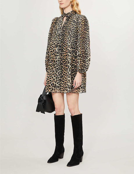Georgette leopard-print woven mini dress