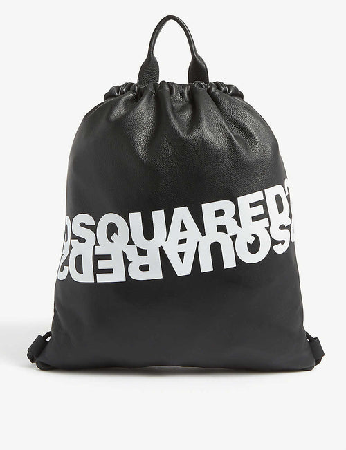 Reflected logo leather drawstring bag