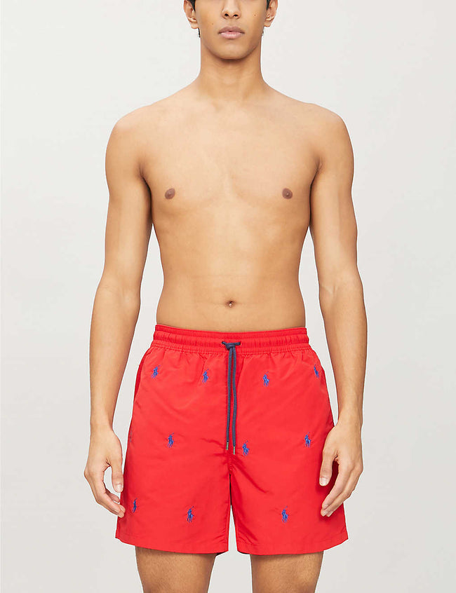 Traveller all-over logo-embroidered swim shorts