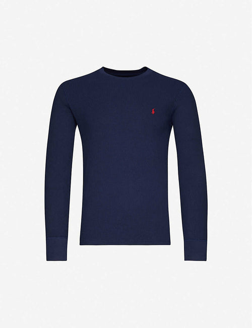 Brand-embroidered crewneck cotton-blend top
