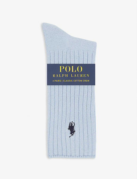 Set of three cotton-blend classic crew socks