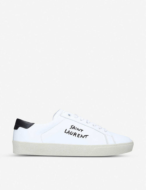 Court Classic brand-embroidered leather low-top trainers