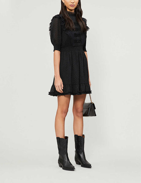 Devor? ruffle trim chiffon mini dress