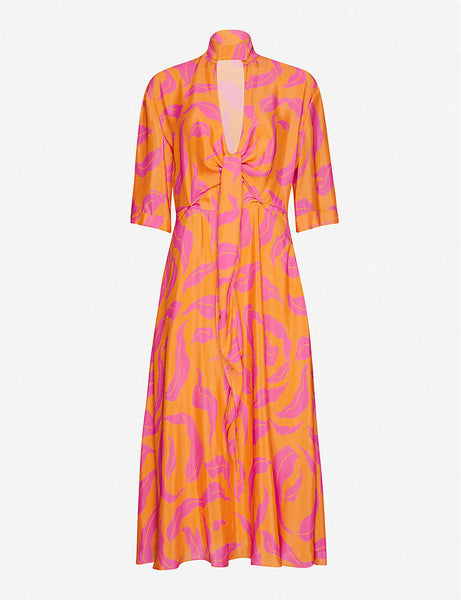 Graphic-print crepe midi dress