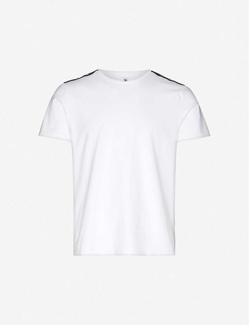 Branded-tape crewneck stretch-cotton T-shirt