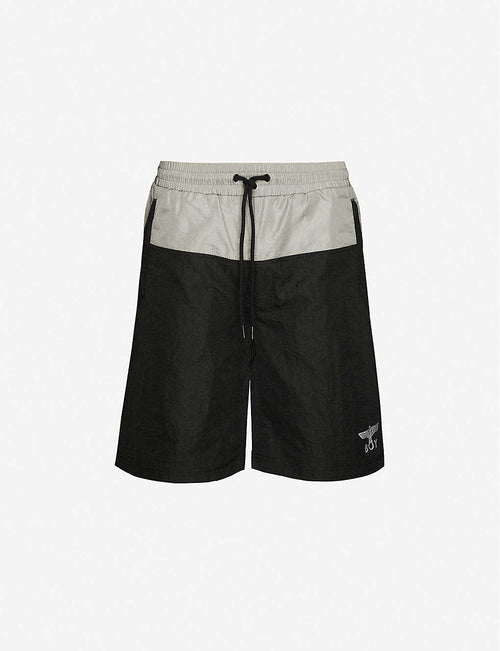 Brand-patch straight shell shorts