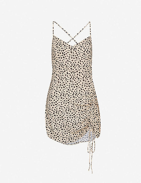 X Lottie Moss leopard-print crepe mini dress
