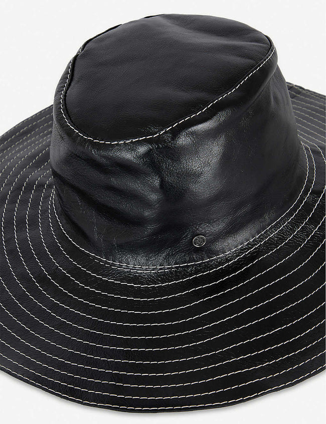 Lauren embroidered leather fedora hat