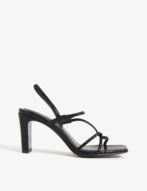 Faye snakeskin-embossed leather strappy sandals
