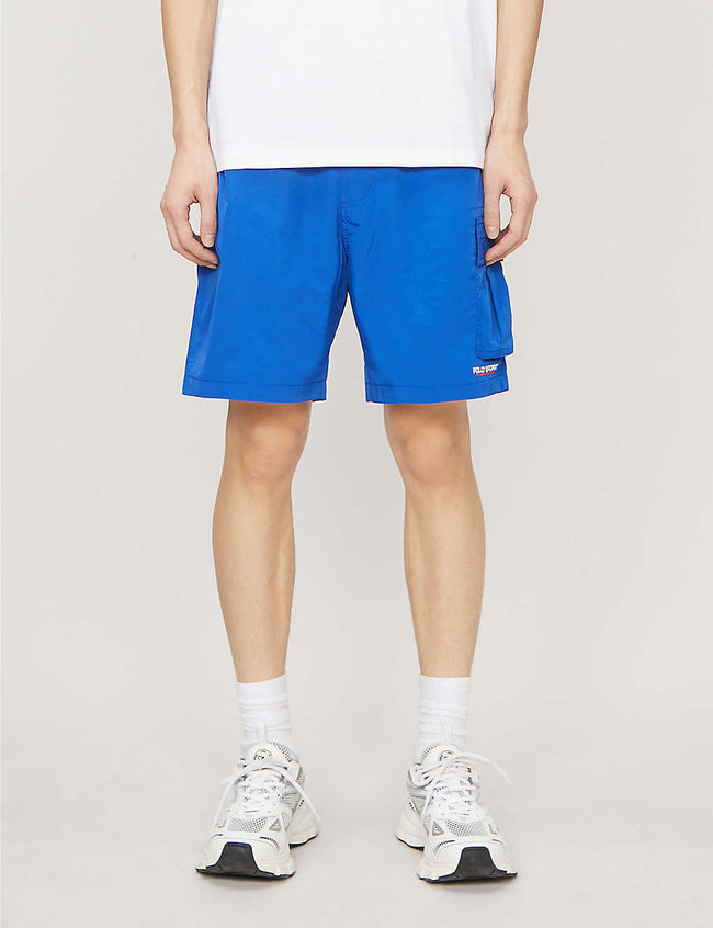 Brand-embroidered straight shell shorts