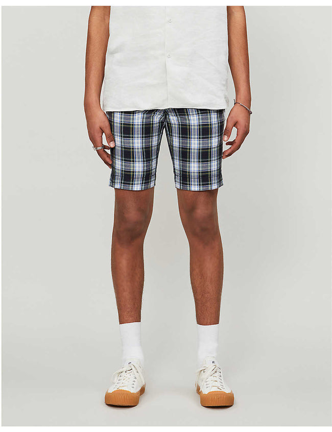 Bedford checked cotton-poplin shorts
