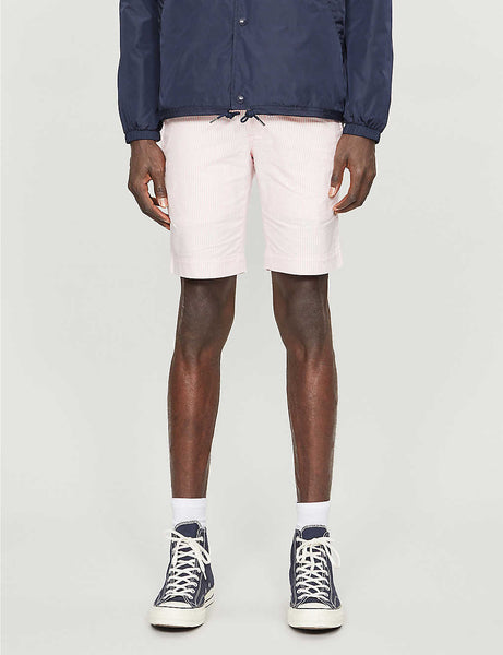 Bedford striped cotton-twill shorts