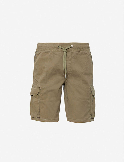 Drawstring-waist relaxed-fit cotton-jersey cargo shorts