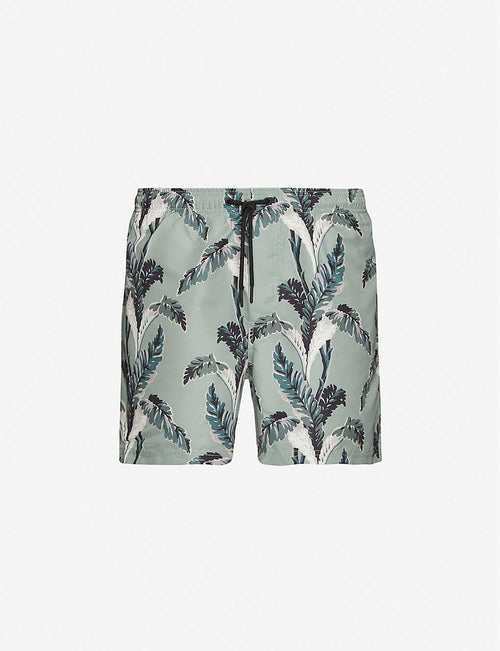 Palm tree-print drawstring-waist swim shorts