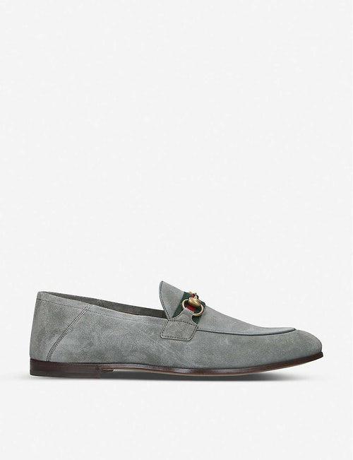 Brixton web-embellished suede loafers