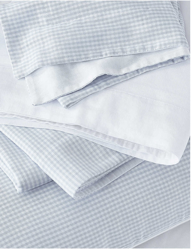 Portobello Gingham cotton oxford super king pillowcase 50cm x 90cm