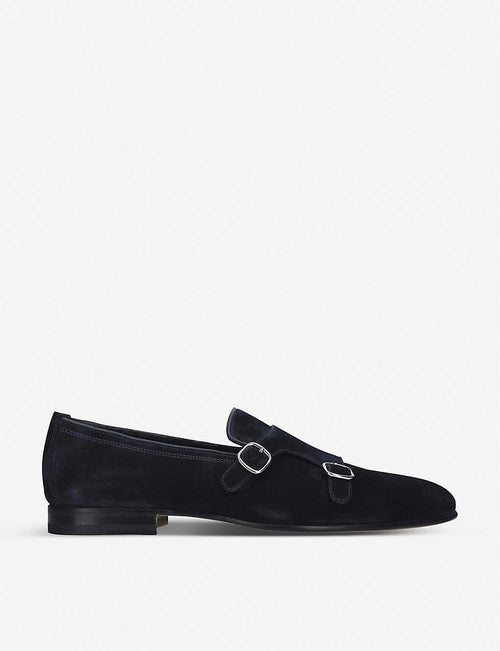 Carlos double monk strap suede loafers