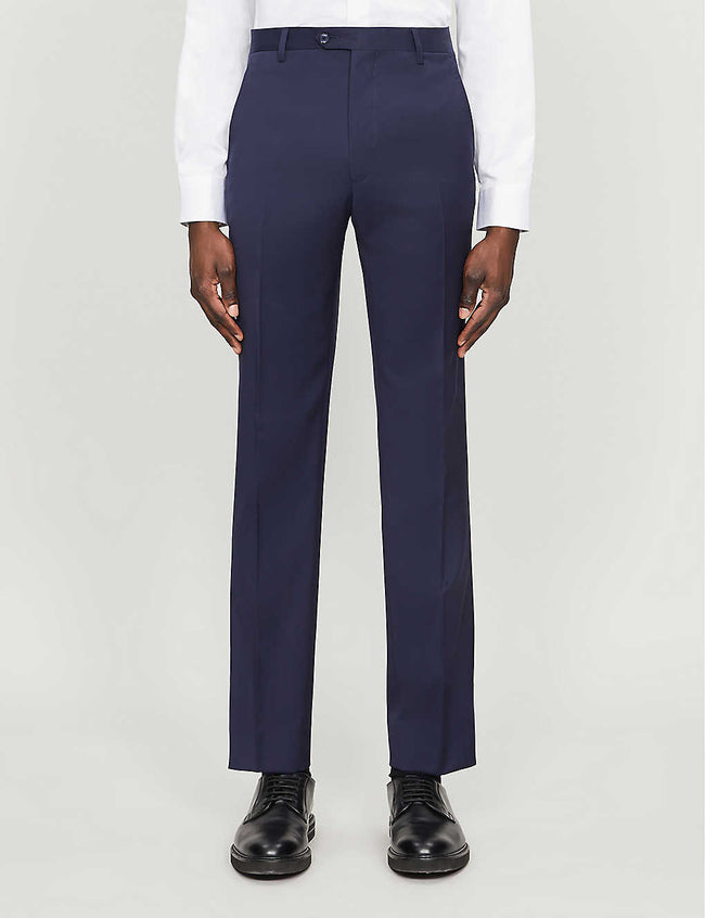 Debonair tapered modern-fit wool trousers