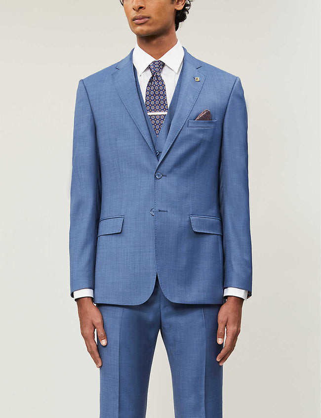 Debonair slim-fit sharkskin wool blazer