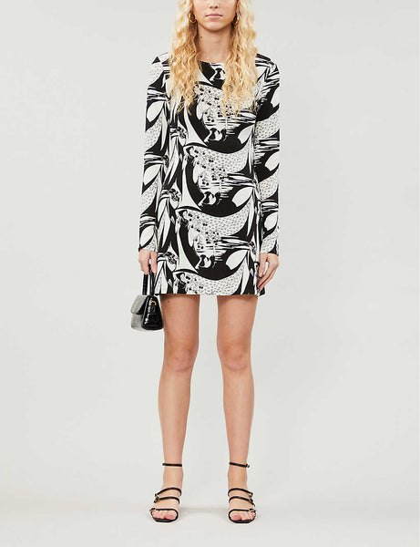 Kenmare graphic-print stretch-jersey mini dress
