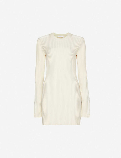 Scoop-neck cotton and cashmere-blend knitted mini dress
