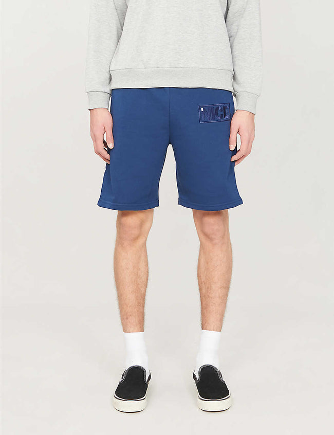 Brand-embroidered straight cotton-blend shorts