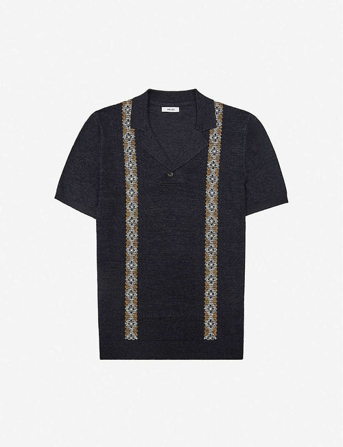 Vega geometric-pattern linen-blend knitted shirt