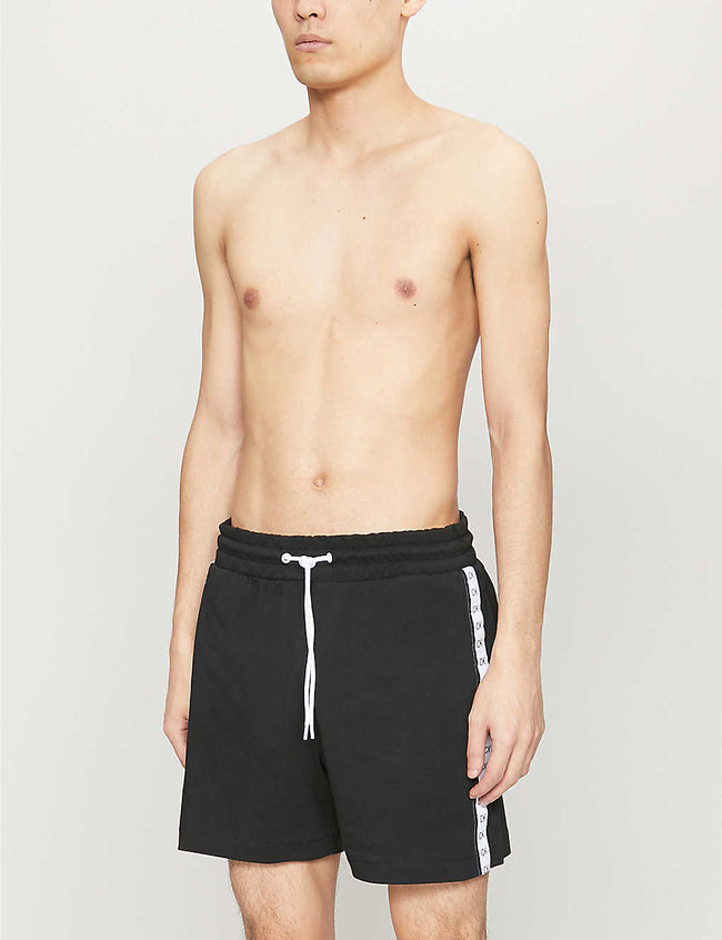 Mono taped cotton-jersey shorts