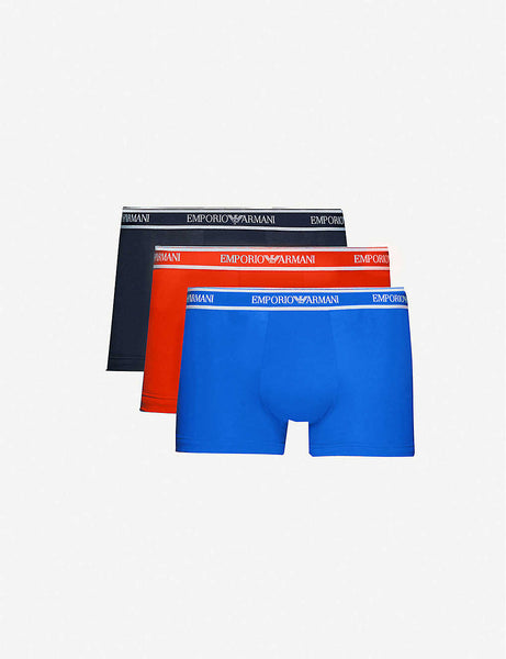 Logo-embellished three-pack low-rise stretch-cotton trunks