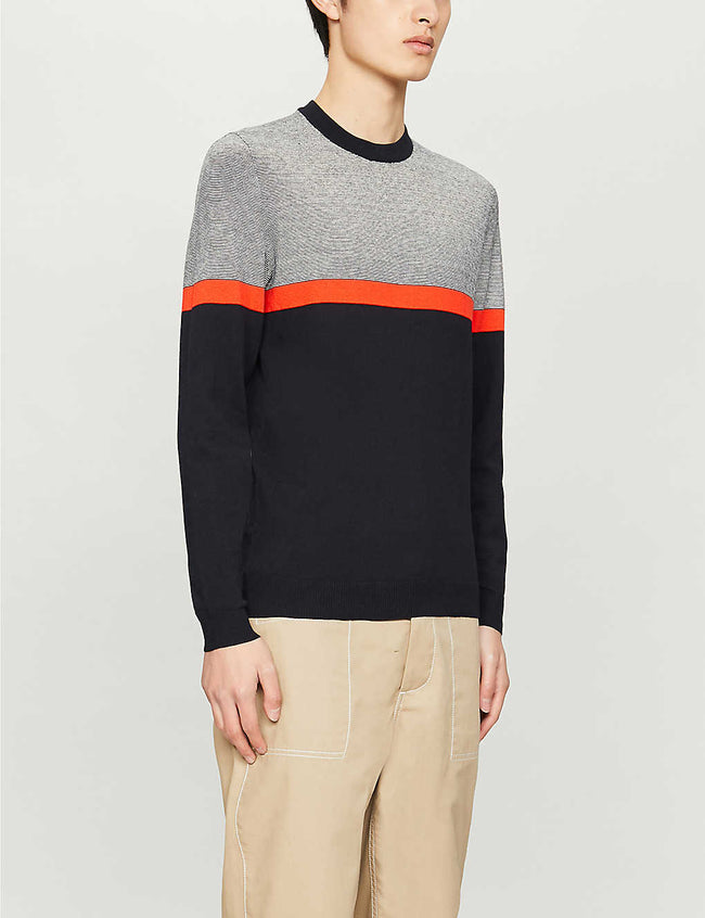 Striped stretch-knit jumper