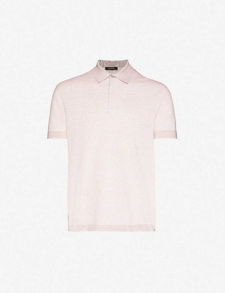 Classic cotton, linen and silk-blend knitted polo shirt