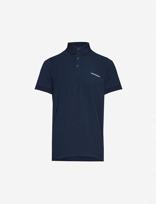 Logo-print stretch-cotton-piqu'© polo shirt